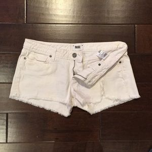 Paige white denim distressed shorts size 30
