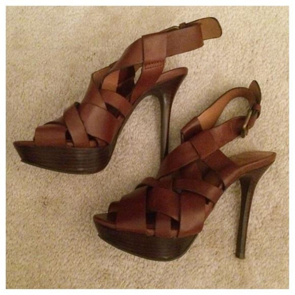 5db68ebc29a Zara brown leather high heel sandal size 6. M 55a2136635ade254b50088c1