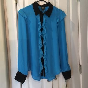 NWT Prabal Gurung Blue and Black Blouse