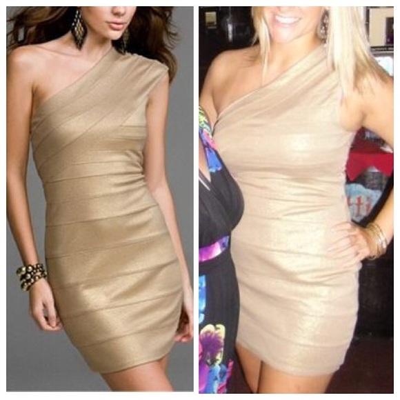 68008e8e2b7 Express Dresses | Metallic Gold One Shoulder Bandage Dress | Poshmark