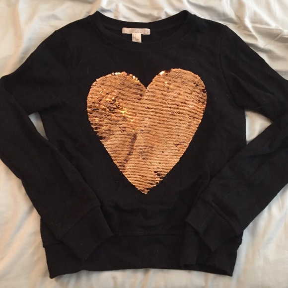 50% off Forever 21 Sweaters - Black with gold sequin heart crew ...