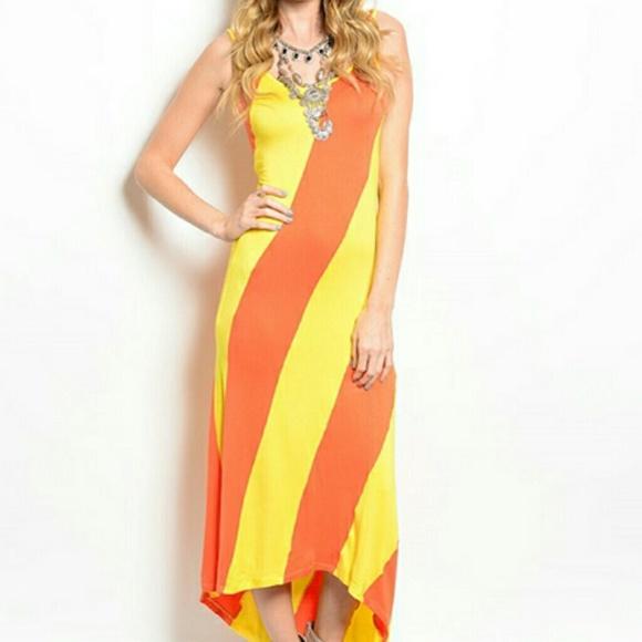 Orange/Yellow Sundress L from Kandice's closet on Poshmark