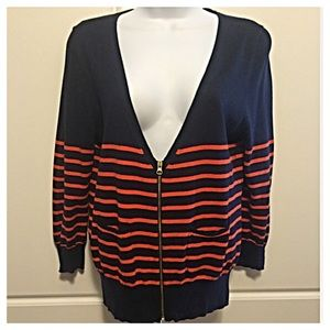 J Crew Navy & Orange Striped Cardigan