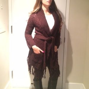 Alice and Olivia Fringe belted coat