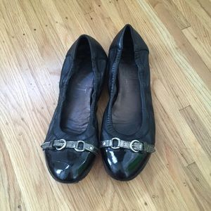 AGL black leather flats