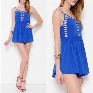 The ARABELLA cut out daisy romper - BLUE