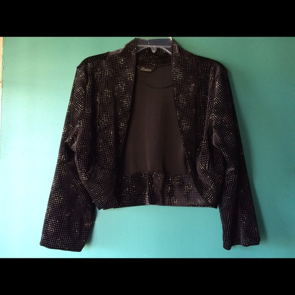 6a966e64 YOURSCLOTHING.co.uk Jackets & Coats | Black Sparkly Bolero Jacket ...
