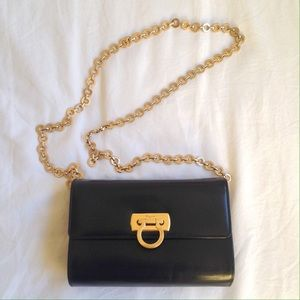 Black ferragamo gancini gold chain shoulder bag