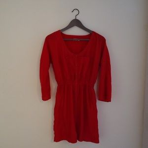 Silence & Noise Red Polyester Button Dress