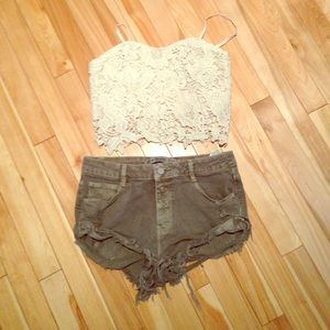 Army green Zara shorts