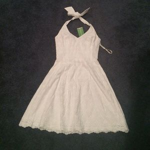 Lilly Pulitzer Ross white eyelet lace halter dress