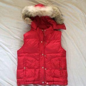Michael Kors puffer vest with fur trim hood