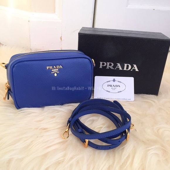 Prada Blue Leather Saffiano Camera Bag MQBW9Wgp