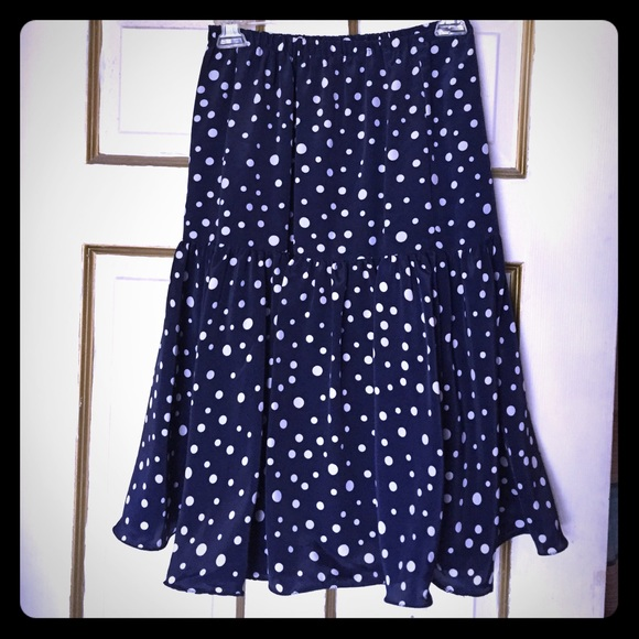 vintage made in the usa polka dot navy blue skirt 6 from
