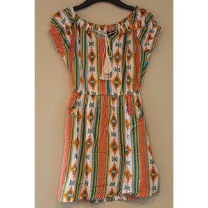 Orange, White & Teal Patterned Dress!