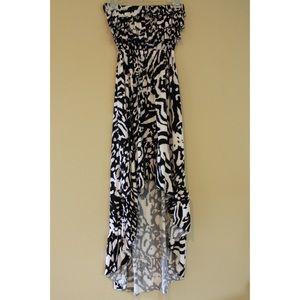 Black and White Animal Print Hi-Low Dress