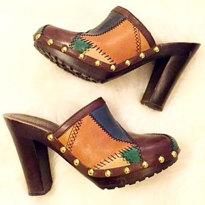 Coach Shoes - Coach Patchwork Leather Studded Clogs