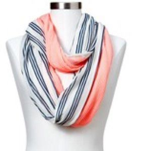 Gap stripes and neon infinity scarf