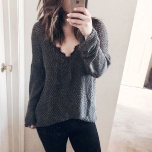 Helmet Lang grey knit sweater