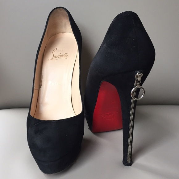 sports shoes f4258 b6f51 Christian Louboutin Suede Platform w/ Zipper Heels