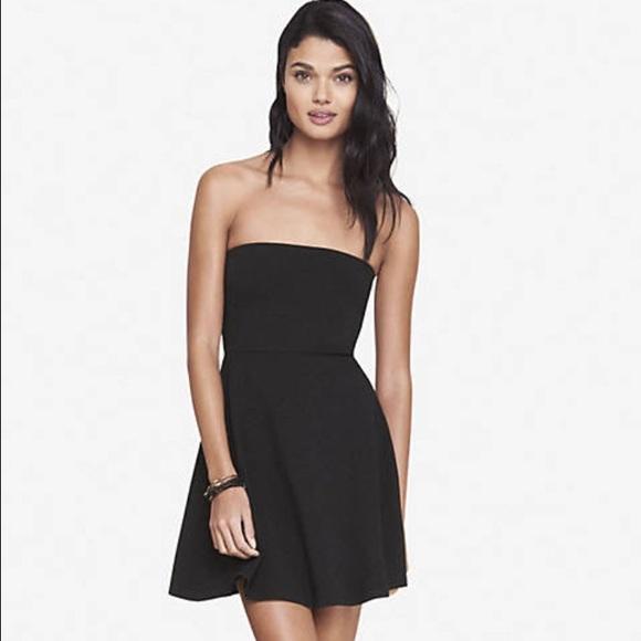 abcc1ae25f5a Black strapless skater dress