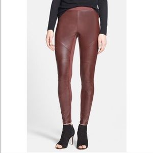 Trouve Pants - Oxblood Faux Leather Leggings