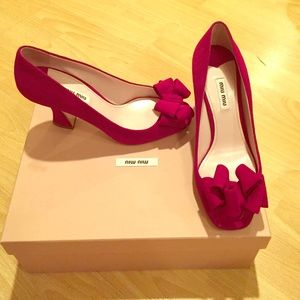 Miu miu purple bow heel