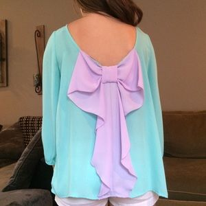 Turquoise/purple bow shirt!