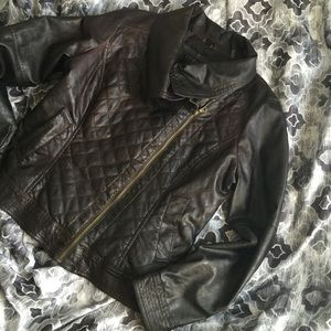 GUESS DARK BROWN QUILTED JACKET(minus the leather)