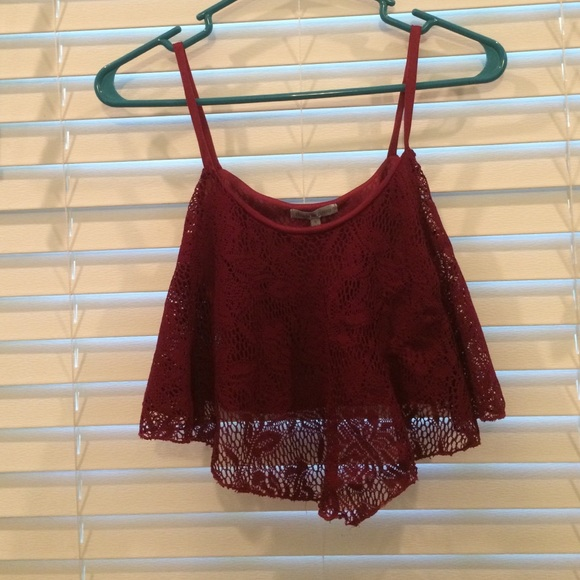a4826b30411 Charlotte Russe Tops | Maroon Lace Crop Top | Poshmark
