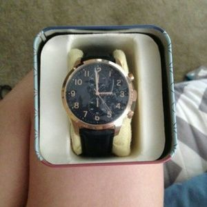 Blue leather men's fossil watch
