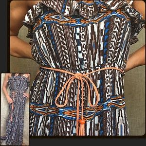 ♦️Bundle Deal TRIBAL Ruffled Strapless Maxi w/ Tie