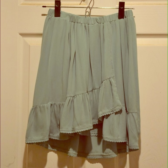 mint green chiffon high low skirt onesize from s