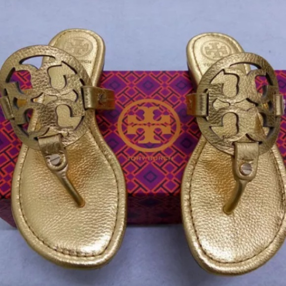 Gold Tory Burch Miller sandals 9
