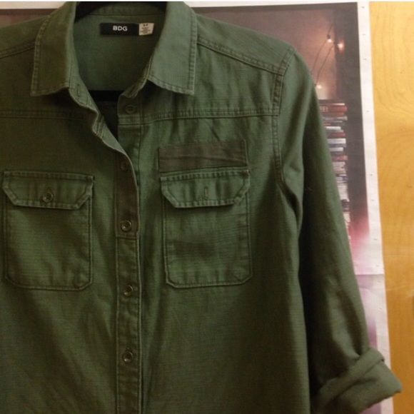 63% off Urban Outfitters Jackets &amp Blazers - BDG army green shirt