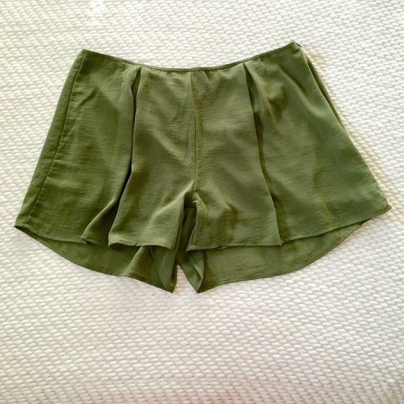 57% off Pants - 🍩 SOLD - Olive Green Polyester Flowy Shorts from ...