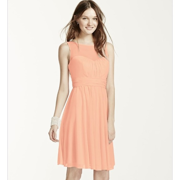 42 off davids bridal dresses skirts short mesh dress for Illusion sweetheart neckline wedding dress