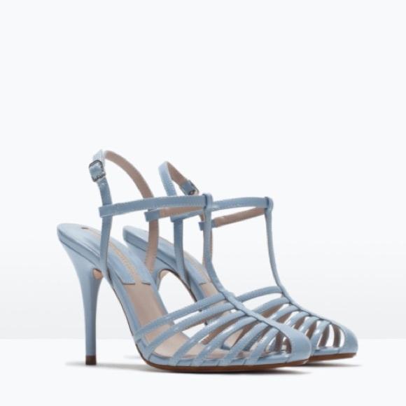 5f0f997ab5b ZARA T-Bar Heeled Sandals in Powder Blue