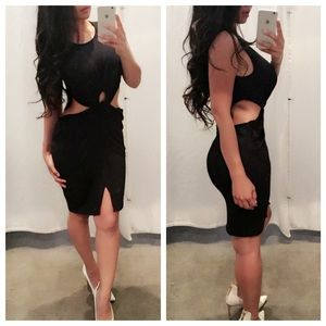 SALEThe SHANEY side slit midi dress - BLACK