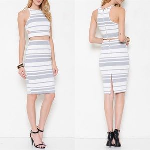 1 HR SALEThe TENILLE striped skirt set - GREY