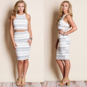 The TENILLE striped skirt set - GREY