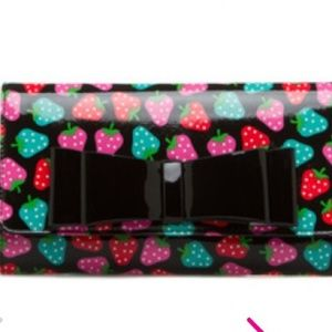 Strawberry printed clutch and strap for purse