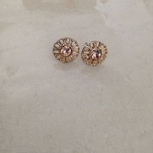 Post earrings with gold and pink