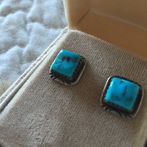 Genuine Turquoise & Sterling Silver Post Earrings