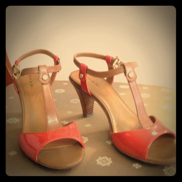 7f8357f1683 Tan and dark orange heels. M 55a3dfdfe1d65f4a4a00fdc1
