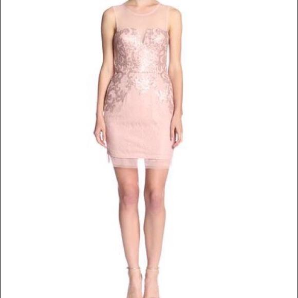 BCBGMaxAzria Dresses | Bcbg Maxazria Light Pink Sequin Mesh Dress ...