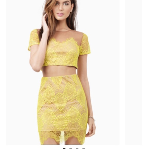 60128af33a0 Tobi Skirts   Yellow Lace Set Crop Top And Skirt Small New   Poshmark