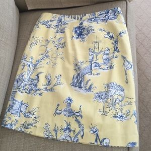 Pale yellow/bl/wht toile lined cotton skirt custom