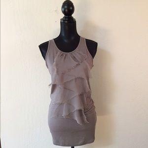 Twelve By Twelve Tops - Unusual gray top with delicate silk front.