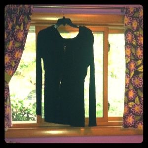 Thin, black, zip up sweater